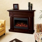 Simcoe Lustrous Chocolate Mocha Espresso Electric Fireplace and Mantel Surround
