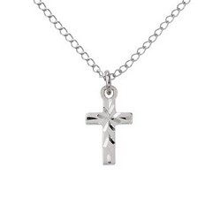 Sterling Silver Childrens Small Engraved Cross