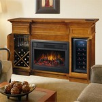 Electric Fireplace And Mantel Surround W/ Built In Wine Storage And Cooler