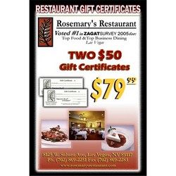 Rosemary Restaurant Two $50 Gift Cards