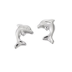 Childs Sterling Silver Dolphin Post Earrings